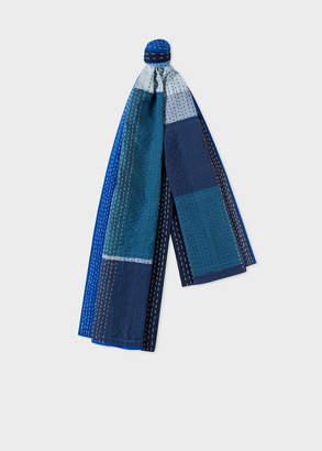 Paul Smith Men's Navy Patchwork Stitching Stripe Cotton Scarf