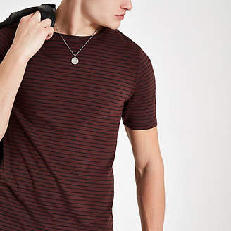 River Island Only and Sons burgundy stripe t-shirt