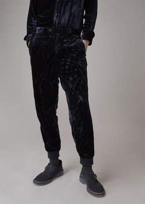 Giorgio Armani Flocked Panne Velvet Pants With Stretch Hem