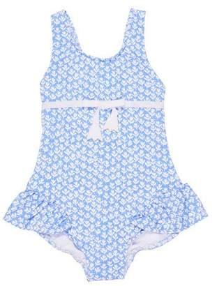 Florence Eiseman Tulip-Print Ruffle One-Piece Swimsuit, Size 2-4