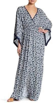 Love Stitch Patterned Contrast Kimono Sleeve Maxi Dress