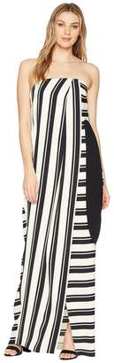 Halston Strapless Striped Tie Waist Detail Gown Women's Dress