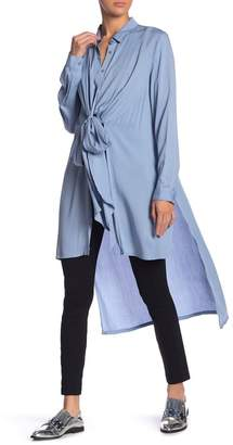 Grey Lab Bow Detailed Long Sleeve Flowing Shirt
