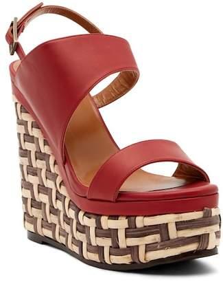 Aquatalia Carmela Woven Platform Heel Leather Sandal
