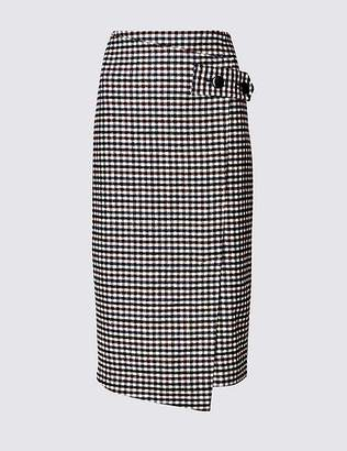 Marks and Spencer Checked Pencil Midi Skirt with Wool