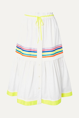 Mira Mikati Grosgrain-trimmed Cotton-twill Midi Skirt - White