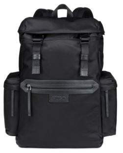 ... HUGO Boss Backpack in nylon gabardine leather trims One Size Black 5edd8be8a18d3