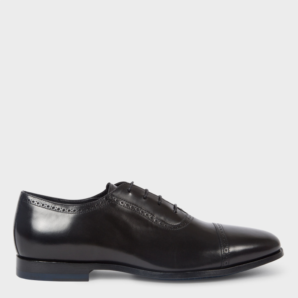 Paul SmithMen's Black Parma Calf Leather 'Amber' Oxford Shoes