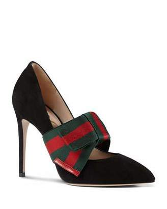 Gucci Sylvie Suede Web Mary Jane Pumps, Black