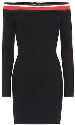 Thierry Mugler Striped off-the-shoulder dress