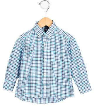 Oscar de la Renta Girls' Gingham Button-Up Top