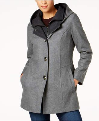 London Fog Hooded Wool-Blend Peacoat