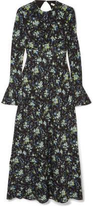 Les Rêveries - Floral-print Silk-chiffon Midi Dress - Black