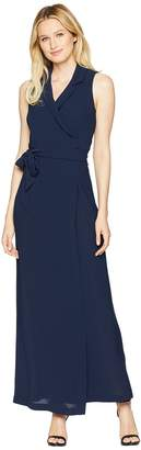 Adrianna Papell Gauzy Crepe Tuxedo Maxi Dress Women's Dress