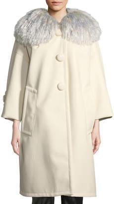 Marc Jacobs Oversized Pleather Coat w/Fringe Collar