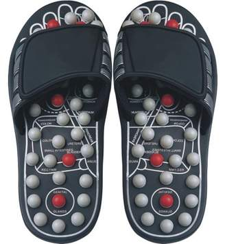 Deluxe Comfort Mens Slip-On Smart Step Reflexology Sandals, Size 7-8 Rejuvenates Sore Feet Orthopedic Foot Therapy Athlete Recovery Footware Foot Massager Sandals, Black/Grey
