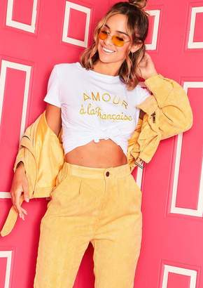 d82589a0 Missy Empire Missyempire Faith White Yellow Amour A-La Francais Slogan T- Shirt