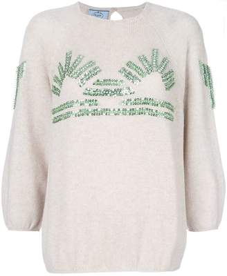 Prada knitted sequin embellished sweater