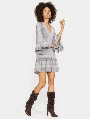 Halston Printed Long Sleeve Ruched Dress