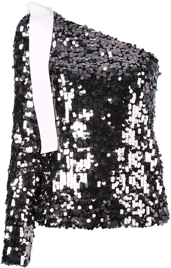 MSGM one shoulder sequin top