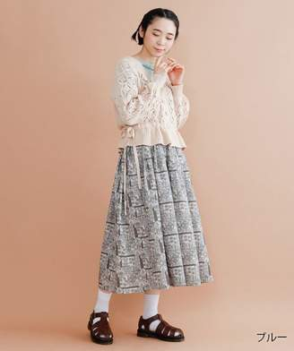 merlot ミルクキャップ柄サスペンダースカート
