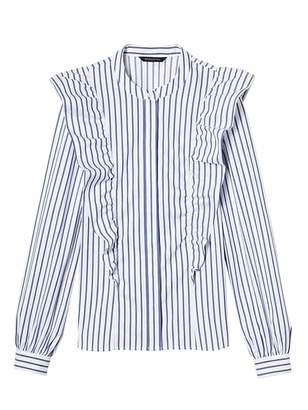 Banana Republic Riley-Fit Stripe Ruffle-Front Shirt