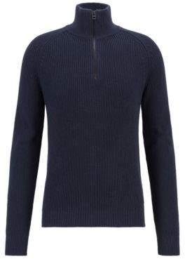 BOSS Hugo Zipper-neck sweater in half-cardigan rib stitch cotton XXL Dark Blue