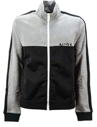 N°21 N.21 Grey And Black Cotton Two-tone Design Track Jacket.