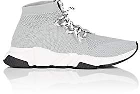 Balenciaga Men's Speed Knit Lace-Up Sneakers-Gray