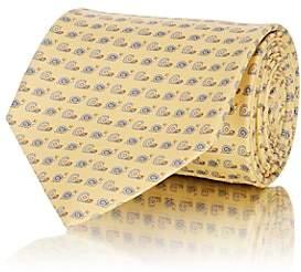 Salvatore Ferragamo Men's Snail-Print Silk Twill Necktie - Yellow