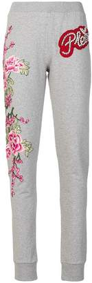 Philipp Plein floral embroidered track pants