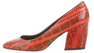 Pierre Hardy Round-Toe Python Pumps w/ Tags
