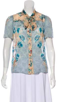 Anna Sui Printed Silk Top