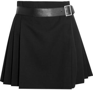 Alexander McQueen - Pleated Grain De Poudre Wool Wrap Mini Skirt - Black $1,525 thestylecure.com