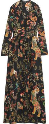 Etro Printed Silk-crepe Gown - Black