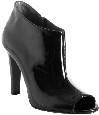 Theory black patent leather 'Sacha' peep toe ankle boots