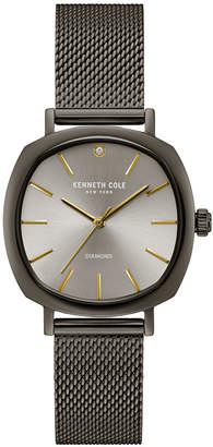 Kenneth Cole New York Ladies Diamond Gun Metal Mesh Bracelet Watch 34mm