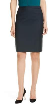 BOSS Vilea Dark Emerald Patterned Wool Pencil Skirt
