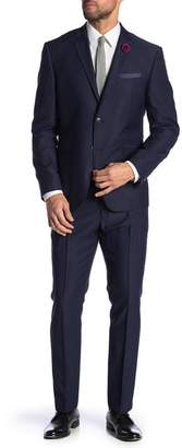 Perry Ellis Navy Dobby Two Button Notch Lapel Very Slim Fit Suit