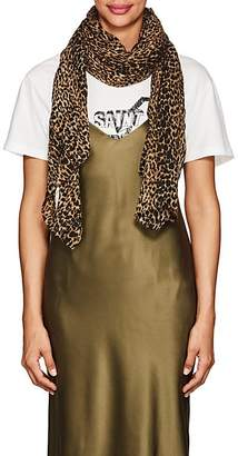 Womens Petit Leopard-Print Wool Scarf Saint Laurent eifMUIvoo