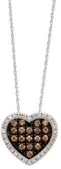 LeVian Chocolate Diamond Heart Pendant in 14 Kt. White Gold