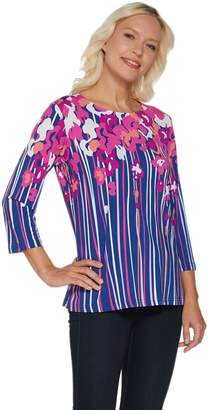 Bob Mackie Floral Print 3/4 Sleeve Jersey Knit Top