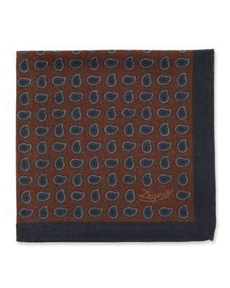 Ermenegildo Zegna Men's Pines Wool Pocket Square, Rust