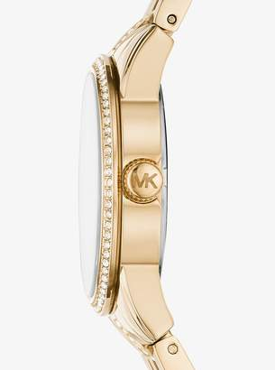 Michael Kors Mini Ritz Pave Gold-Tone Watch