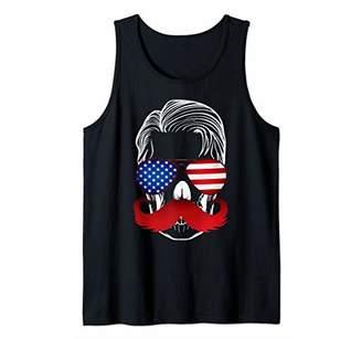 USA American Flag Skull Shirt Sunglasses Aviators tee Tank Top