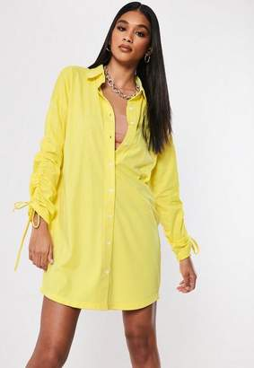 Missguided Yellow Ruched Side Shirt Dress