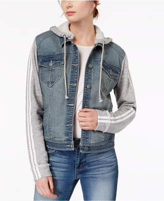 Tinseltown Juniors' Hooded French Terry Denim Jacket