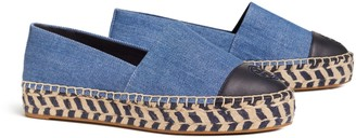 Tory Burch COLOR-BLOCK DENIM PLATFORM ESPADRILLE