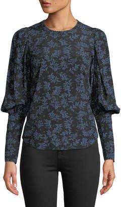 Veronica Beard Clarke Floral Button-Back Silk Top