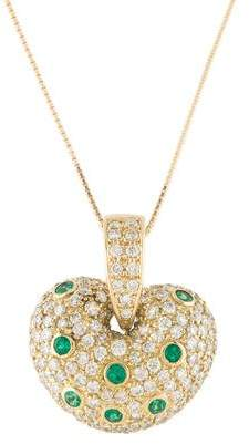 18K Diamond & Emerald Heart Pendant Necklace